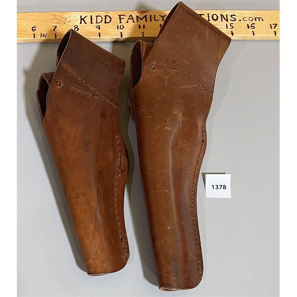 LOT OF 2 LEATHER HOLSTERS; UNMARKED