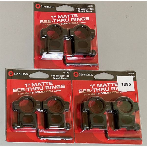 LOT OF 3 SIMMONS SEE - THRU SCOPE RING SETS