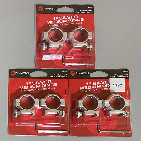LOT OF 3 SIMMONS SCOPE RING SETS