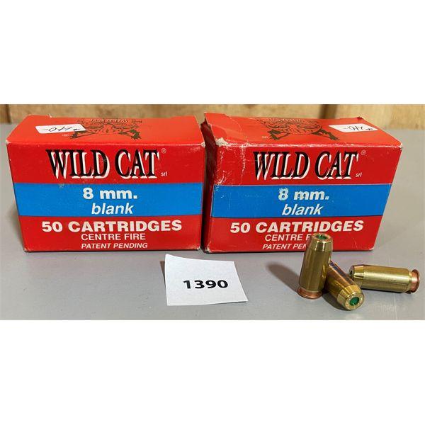100 x WILD CAT 8 MM BLANK CARTRIDGES