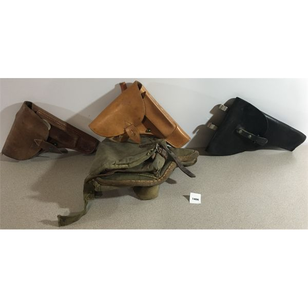 4 MILITARY STYLE PISTOL HOLSTERS