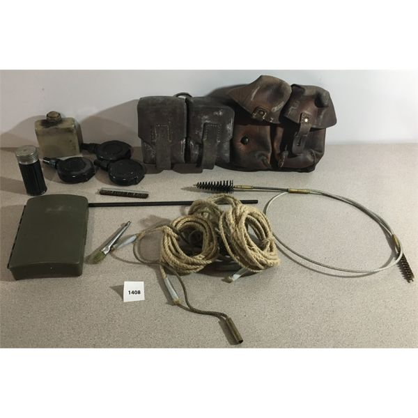 LOT OF LEATHER POUCHES & CLEANING KIT