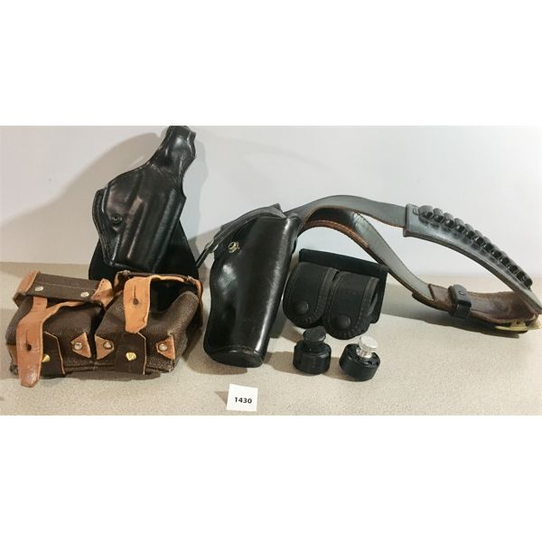 2X HOLSTERS, 2X SPEEDLOADERS, MOSIN NAGANT AMMO POUCH