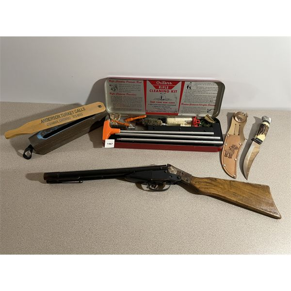 """GUN CLEANING KIT, 5"""" KNIFE, TURKEY CALL, TOY GUN"""