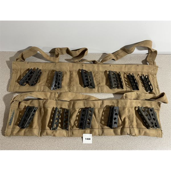 2X LEE ENFIELD BANDOLIERS & 20X CLIPS