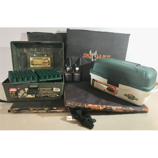 2X TREE STAND SEAT COVERS, 2X RADIOS, SHOTSHELL BOX, TACKLE BOX