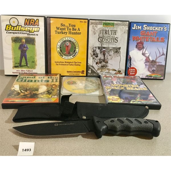 OUTBOUND HUNTING KNIFE & 7X HUNTING/ SHOOTING DVDS