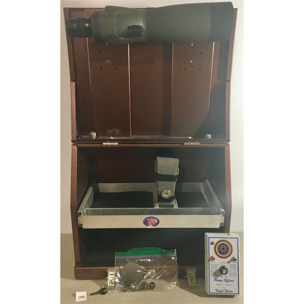 3 GUN PISTOL BOX, BARSKA 20X-60X SPOT SCOPE, TARGET TIMER, BLINDER & APERTURES
