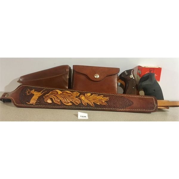 LEATHER SLING, CHEEK RISER, RIFLE AMMO POUCH, S&W K FRAME GRIPS X2