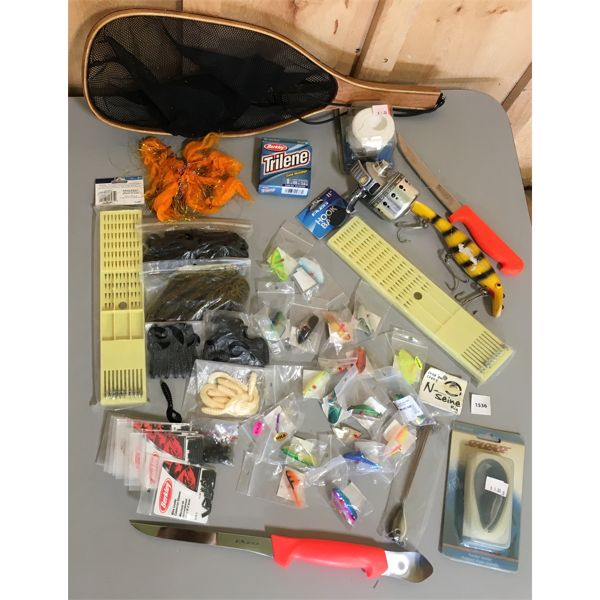 JOB LOT - FISHING ACCESSORIES INCL SILVERCAST REEL, LURES, WEIGHTS, ETC