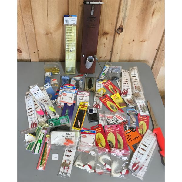 JOB LOT - FISHING TACKLE, ICE RIGGER, FILET KNIFE, ETC