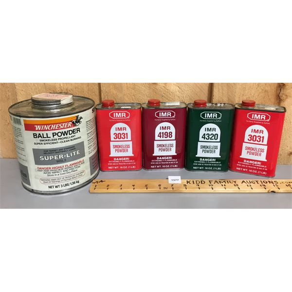QTY OF SMOKELESS POWDER - CONTAINERS ARE 3/4 FULL