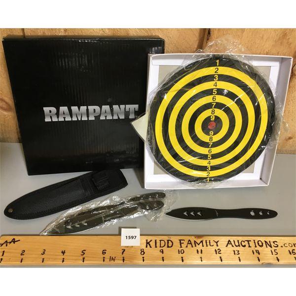 RAMPANT THROWING KNIFE KIT - AS NEW