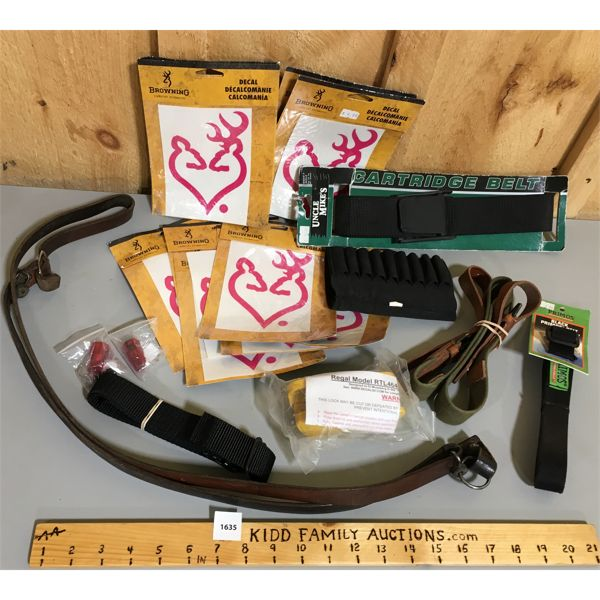 JOB LOT - BROWNING DECALS, CANVAS AMMO BELTS, SLINGS, ETC