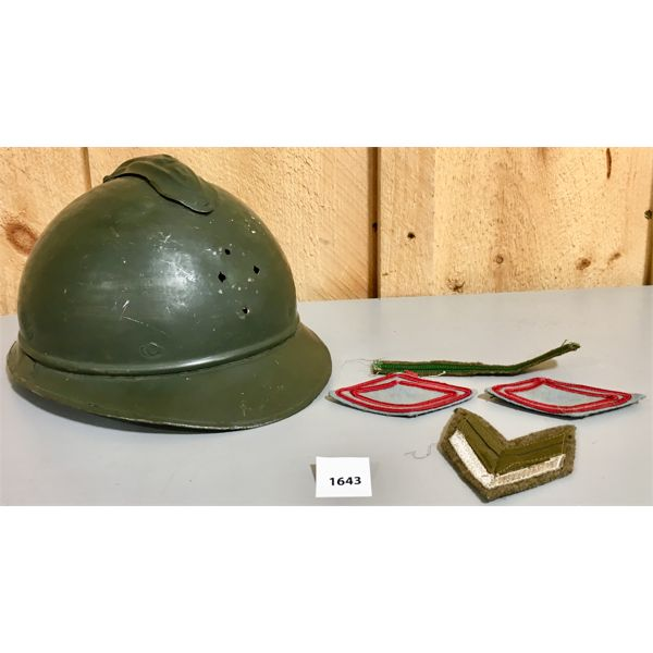 WW2 FRENCH MILITARY HELMET & PATCHES