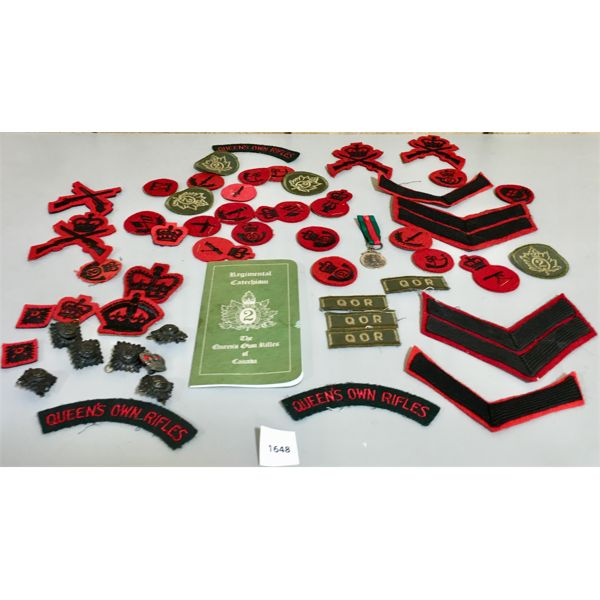 LOT OF CANADIAN MILITARY PATCHES- QUEEN'S OWN RIFLES