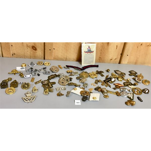 LOT OF CANADIAN MILITARY BRASS- MOST ORIGINAL- SOME REPRO
