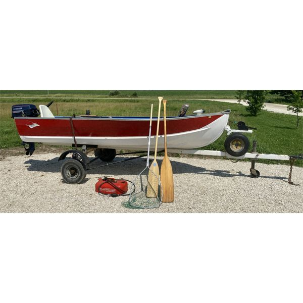 12 FOOT SPRINGBOK ALUM FISHING BOAT W/ TRAILER, 6HP EVINRUDE MOTOR, HUMMINBIRD FISH FINDER