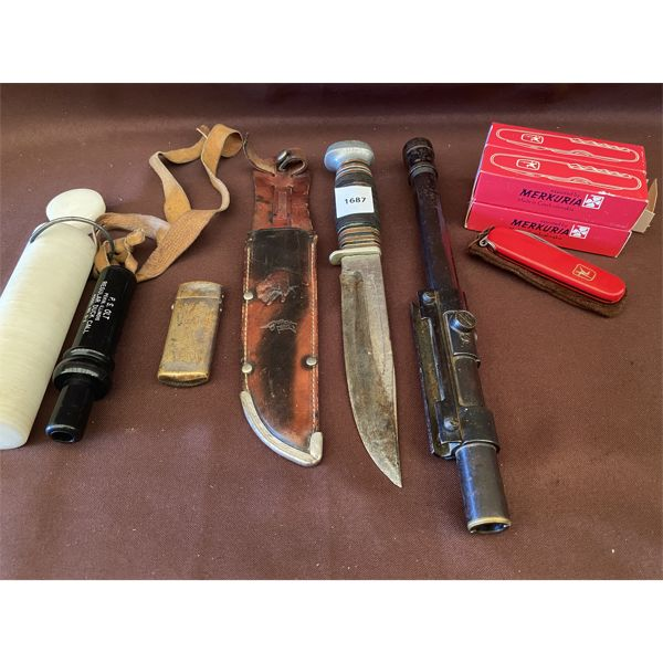 JOB LOT - DUCK CALL, HUNTING KNIFE, CLEAR SCOPE, POCKET KNIVES, ETC
