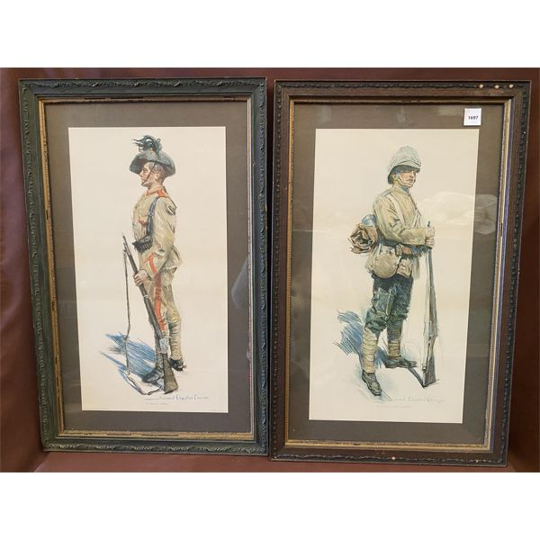 LOT OF 2 - HOWARD CHANDLER CHRISTIE FRAMED LITHOGRAPHS - 15 X 24 INCH