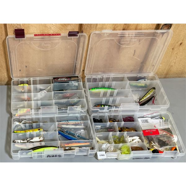 4 TRAYS OF FISHING LURES & ETC.; LOT