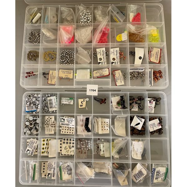 2 TRAYS OF FISHING LURE FABRICATING PRODUCTS & ACCESSORIES