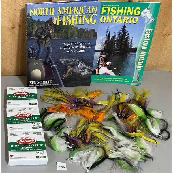 JOB LOT OF FLY FISHING EQUIPMENT, LINE(NIB) & 2 BOOKS