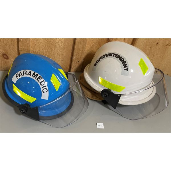 LOT OF 2 PROTECTIVE HELMETS W/ VISORS; GOOD CONDITION