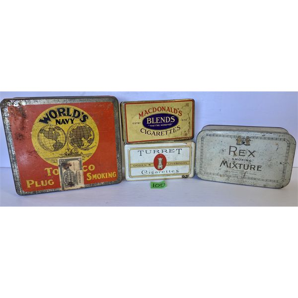 LOT OF 4 - TOBACCO TINS - WORLD'S NAVY, MACDONALD'S, OGDEN'S, IMPERIAL - CANADA