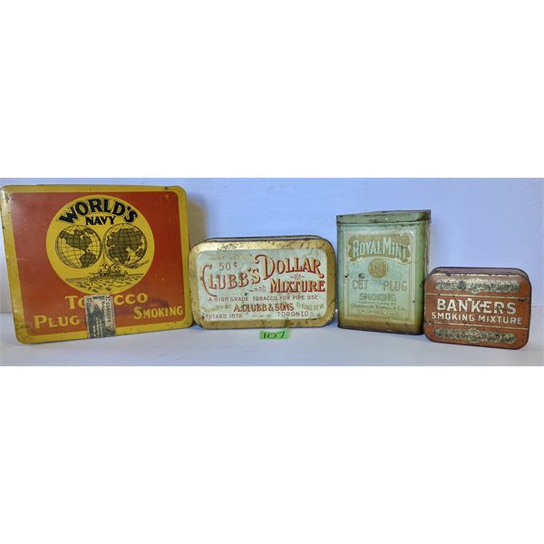LOT OF 4 - TOBACCO TINS - WORLD'S NAVY, CLUBB'S, DOMINION, IMPERIAL  - CANADA