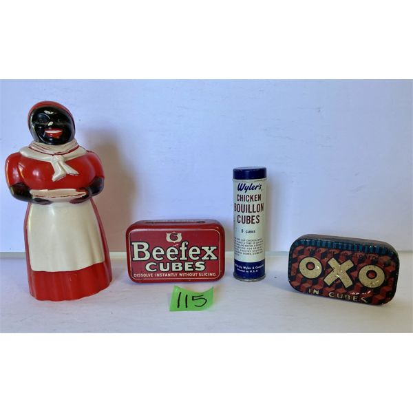 LOT OF 4 - VINTAGE KITCHEN COLLECTIBLES - AUNT JEMIMA SYRUP, BEEFTEX, OXO, ETC