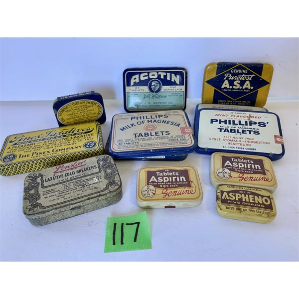 QTY OF MEDICINAL COLLECTIBLE TINS - PHILLIPS, BAYER, INDIAN ROOT PILLS, LAXITIVES, ETC.