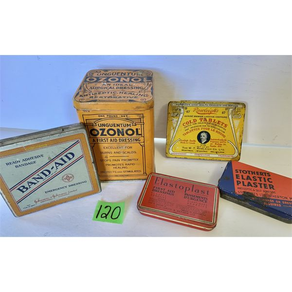 LOT OF 5 - VINTAGE FIRST AID SUPPLY TINS