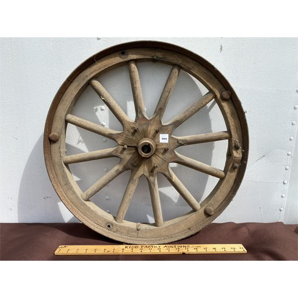 WOODEN SPOKED WAGON WHEEL - APPROX 2'