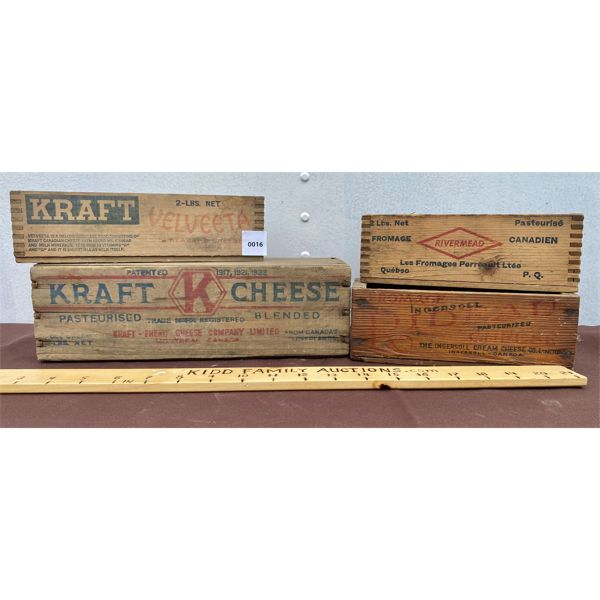 LOT OF 4 - VINTAGE CHEESE BOXES - KRAFT, ETC