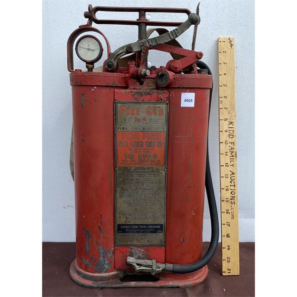 FIRE-GUN NO 4 BACKPACK EXTINGUISHER W/ LEATHER STRAPS