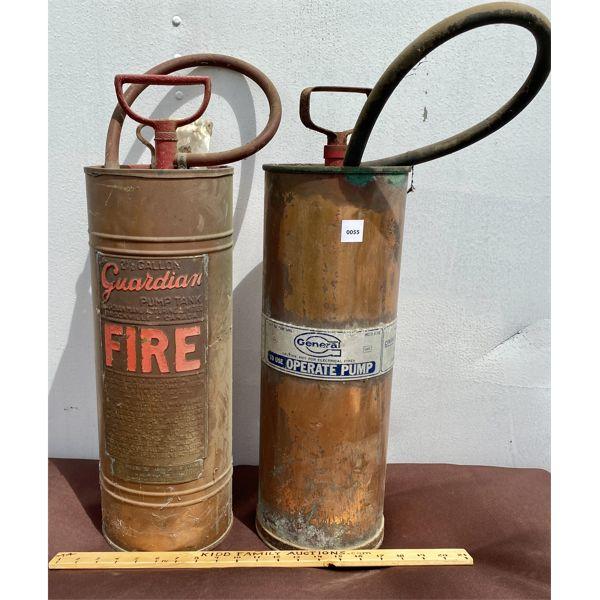 LOT OF 2 - VINTAGE COPPER FIRE EXTINGUISHERS