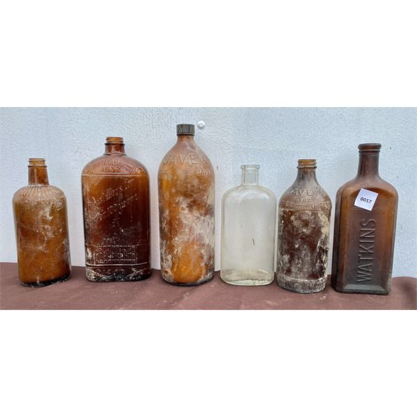 LOT OF 6 - OLD COLOURED GLASS BOTTLES - JAVEX, ETC