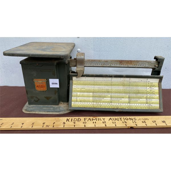 ANTIQUE AIR MAIL SCALE W/ WEIGHT CHART
