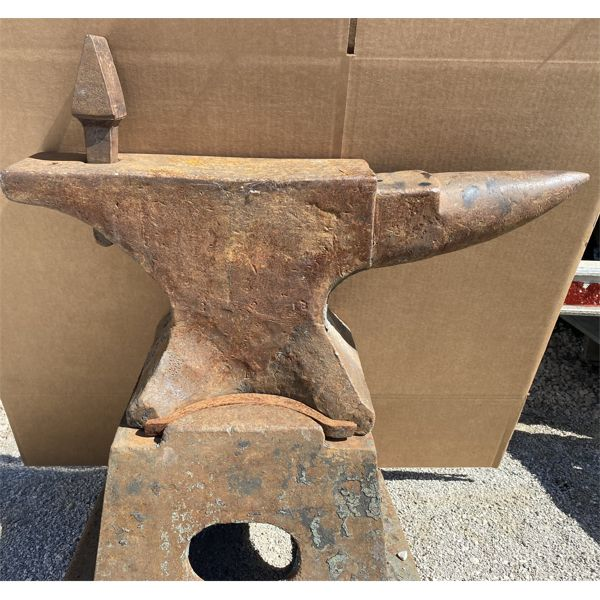 300 LB CAST ANVIL ON ORIGINAL 300 LB BASE WITH FORGING TOOL INCLUDED - EXCEPTIONAL FIND