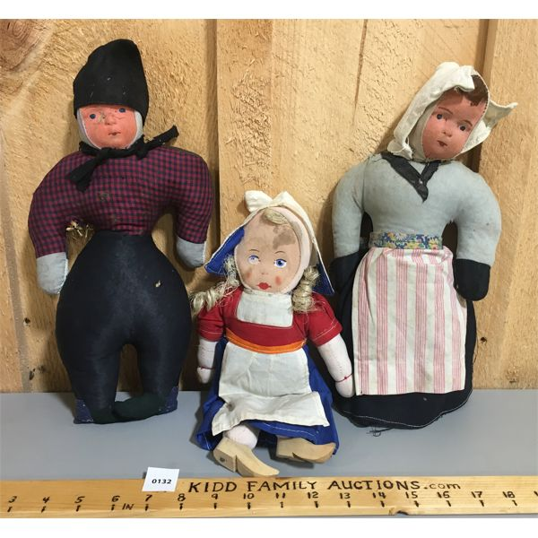 LOT OF 3 - 1940'S DOLLS FROM HOLLAND