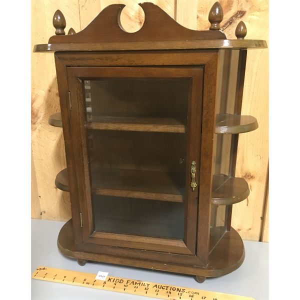 """SMALL WOOD AND GLASS CURIO CABINET - 24"""" X 19"""" X 8"""""""
