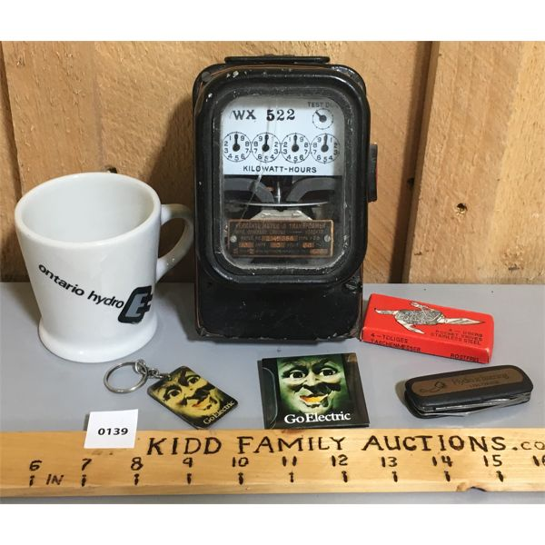LOT OF HYDRO ELECTRIC ITEMS - INCLUDES VINTAGE HYDRO METER