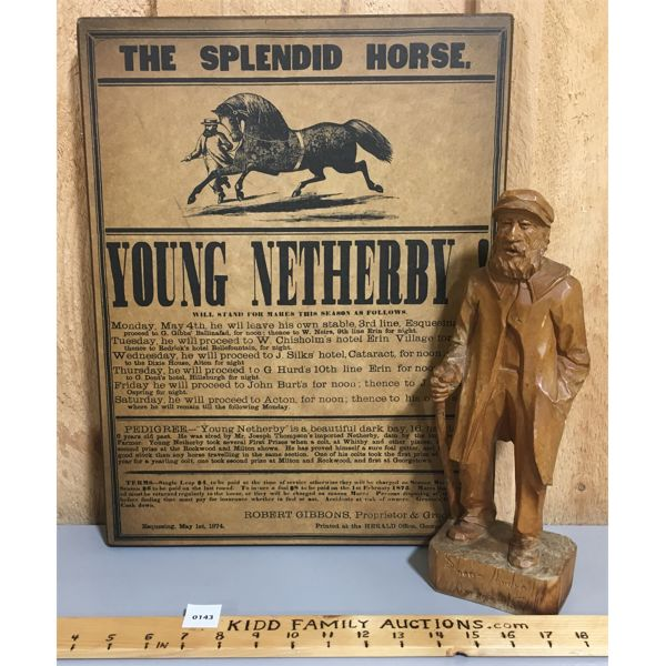 LOT OF 2 - THE SPLENDID HORSE POSTER AND WOOD CARVING