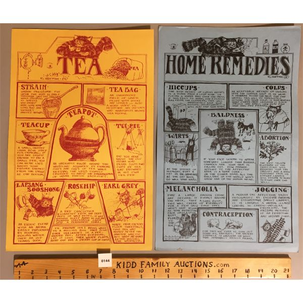 """LOT OF 2 - TEA AND HOME REMEDIES POSTERS SIGNED R.HUPMAN - 11"""" X 17"""""""