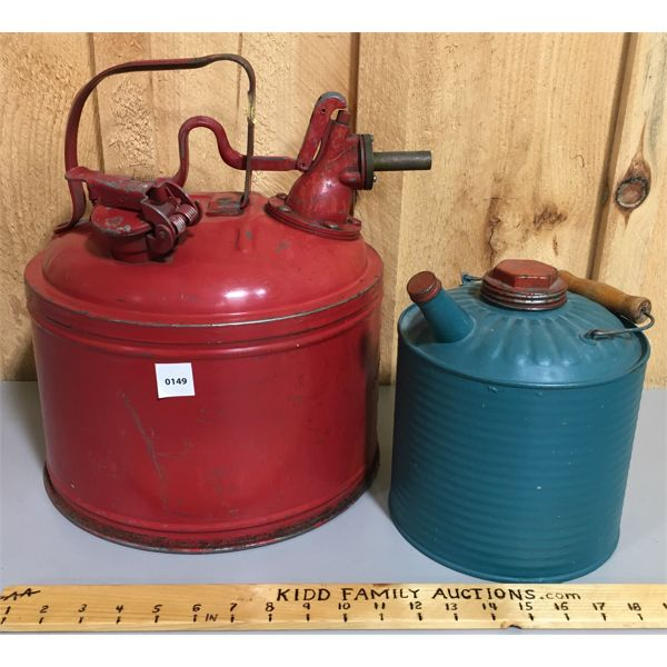 LOT OF 2 METAL FUEL CANS