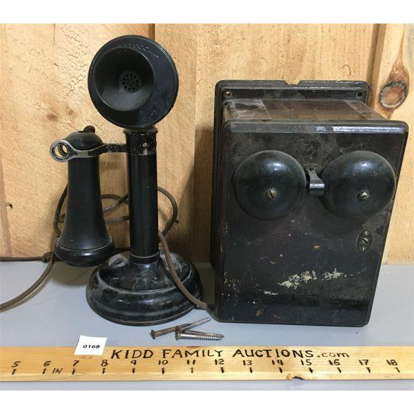 KELLOGG CANDLE STICK PHONE W/ RINGER BOX
