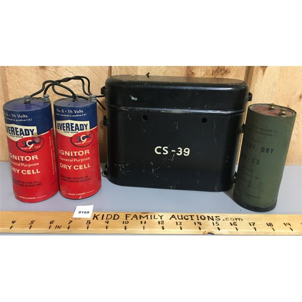 LOT OF 3 DRY CELL BATTERIES IN METAL CASE