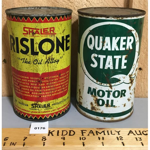 LOT OF 2 MOTOR OIL QT. CANS W/ CONTENTS; QUAKER STATE & RISLONE