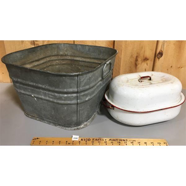 LOT OF 2 GALVANIZED WASH TUB & ENAMEL POT